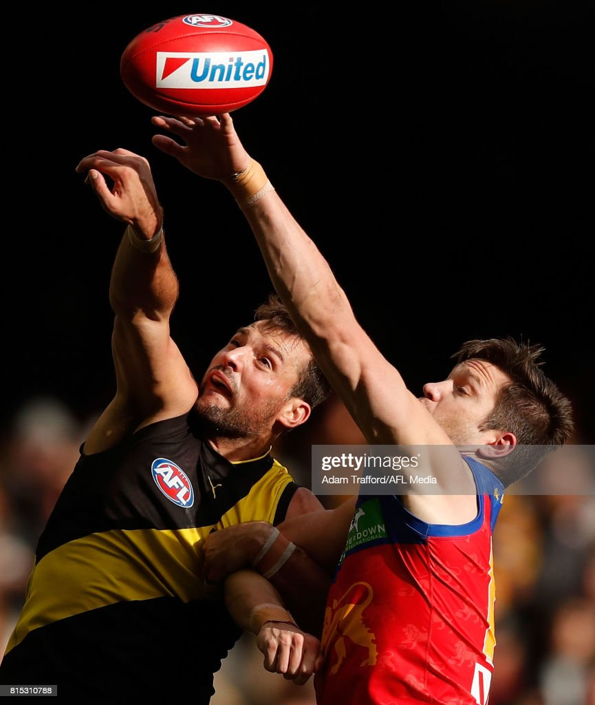 Stefan Martin of the Lions and Toby Nankervis of the Tigers compete in a ruck contest during the 2017 AFL round 17 match between the Richmond Tigers and the Brisbane Lions at Etihad Stadium on July 16, 2017 in Melbourne, Australia.
