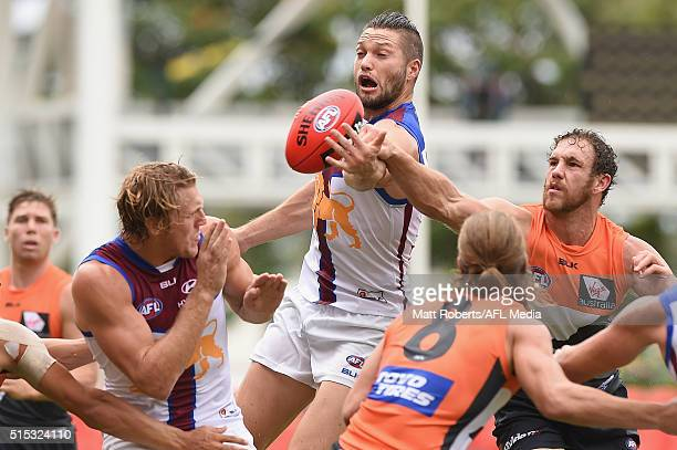 Stefan Martin of the Lions competes for the ball during the NAB Challenge AFL match between the Brisbane Lions and the Greater Western Sydney Giants...