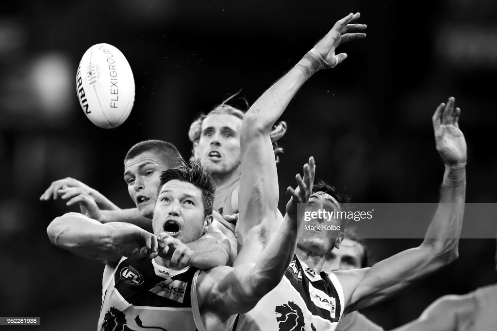 Stefan Martin of the Lions loses the ball as he attempts to mark during the round six AFL match between the Greater Western Sydney Giants and the Brisbane Lions at Spotless Stadium on April 28, 2018 in Sydney, Australia.