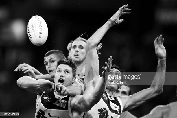Stefan Martin of the Lions loses the ball as he attempts to mark during the round six AFL match between the Greater Western Sydney Giants and the...