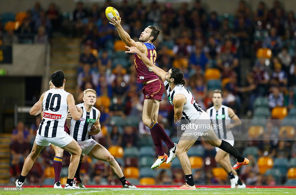 Stefan Martin of the lions wins posession during the round eight AFL match between the Brisbane Lions and the Collingwood Magpies at The Gabba on May 14, 2016 in Brisbane, Australia.