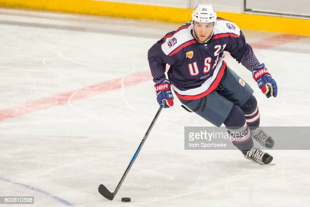 Stefan Matteau of Team USA controls the puck during the Melbourne Game of the Ice Hockey Classic on June 24 2017 held at Hisence Arena Melbourne...