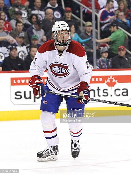 Stefan Matteau of the Montreal Canadiens skates down the ice in second period action in an NHL game against the Winnipeg Jets at the MTS Centre on...