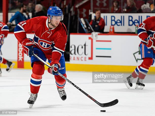 Stefan Matteau of the Montreal Canadiens skates the puck during the warmup prior to the NHL game against the Detroit Red Wings at the Bell Centre on...