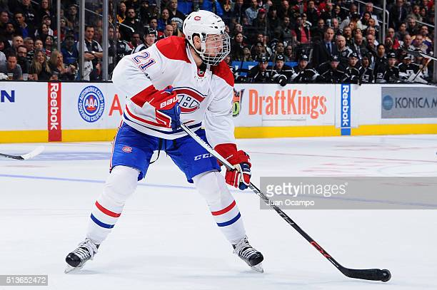 Stefan Matteau of the Montreal Canadiens skates with the puck during the game against the Los Angeles Kings on March 3 2016 at Staples Center in Los...