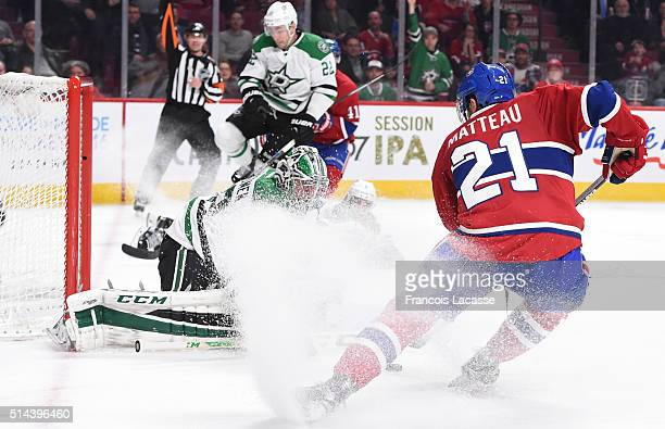 Stefan Matteau of the Montreal Canadiens takes a shot on goal Kari Lehtonen of the Dallas Stars in the NHL game at the Bell Centre on March 8 2016 in...