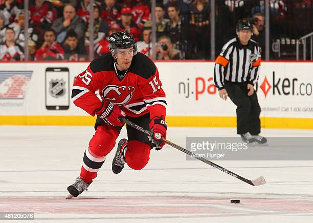 Stefan Matteau of the New Jersey Devils in action against the Pittsburgh Penguins during the second period at the Prudential Center on December 29...
