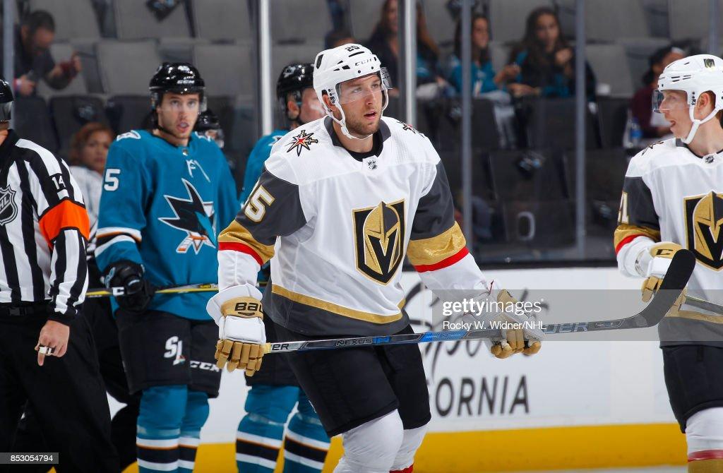 Stefan Matteau #25 of the Vegas Golden Knights skates against the San Jose Sharks at SAP Center on September 21, 2017 in San Jose, California.