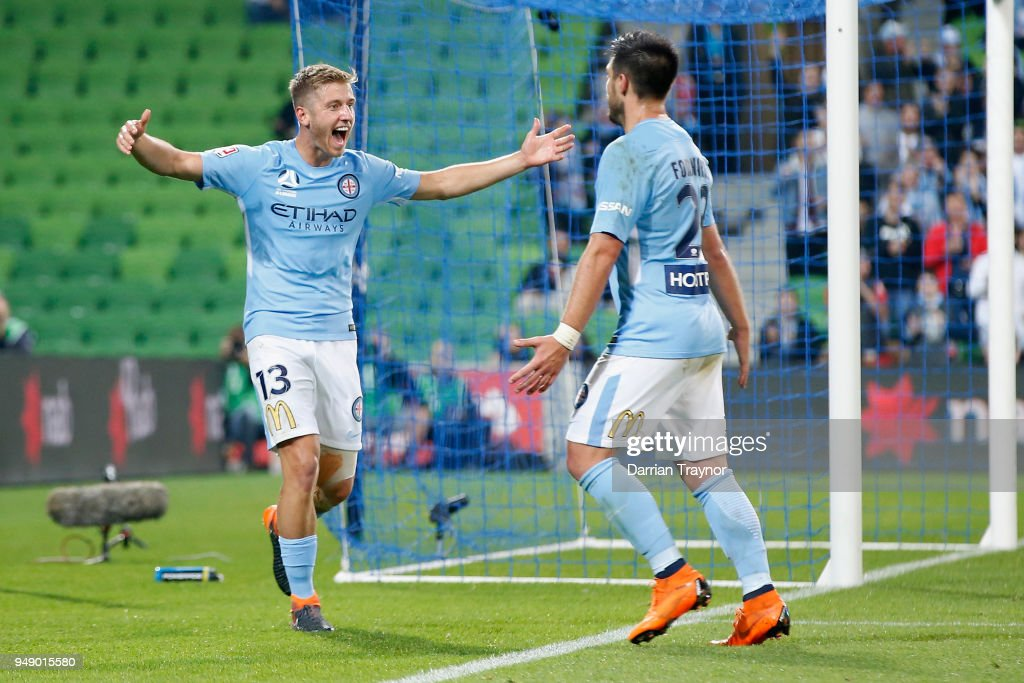 Stefan Mauk and Bruno Fornaroli of Melbourne City celebrate a goal during the A-League Elimination Final match between the Melbourne City and the Brisbane Roar at AAMI Park on April 20, 2018 in Melbourne, Australia.