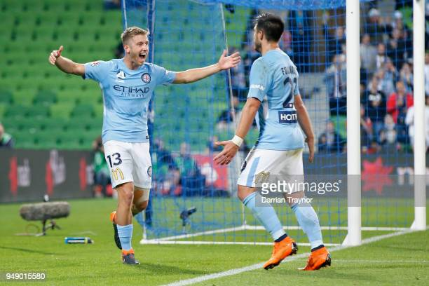 Stefan Mauk and Bruno Fornaroli of Melbourne City celebrate a goal during the ALeague Elimination Final match between the Melbourne City and the...