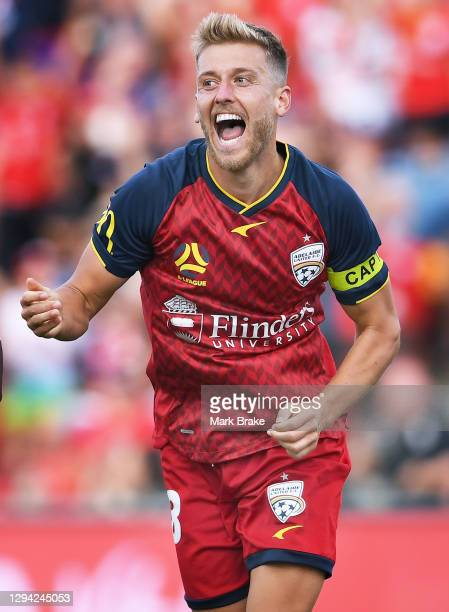 Stefan Mauk of Adelaide United celebrates after scoring his teams second goal during the A-League match between Adelaide United and Melbourne City at...