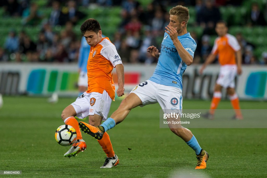 Stefan Mauk of Melbourne City and Joe Caletti of the Brisbane Roar contes the ball during Round 1 of the Hyundai A-League Series between Brisbane Roar and Melbourne City on October 06, 2017, at AAMI Park in Melbourne, Australia.