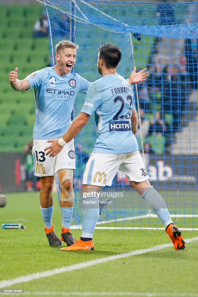 Stefan Mauk of Melbourne City celebrates a goal during the A-League Elimination Final match between the Melbourne City and the Brisbane Roar at AAMI Park on April 20, 2018 in Melbourne, Australia.