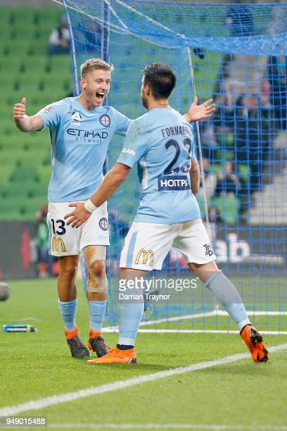 Stefan Mauk of Melbourne City celebrates a goal during the ALeague Elimination Final match between the Melbourne City and the Brisbane Roar at AAMI...