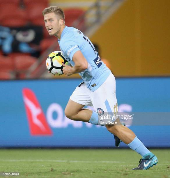 Stefan Mauk of Melbourne City celebrates his goal during the round seven ALeague match between Brisbane Roar and Melbourne City at Suncorp Stadium on...