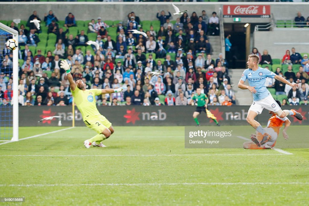 Stefan Mauk of Melbourne City heads through a goal during the A-League Elimination Final match between the Melbourne City and the Brisbane Roar at AAMI Park on April 20, 2018 in Melbourne, Australia.