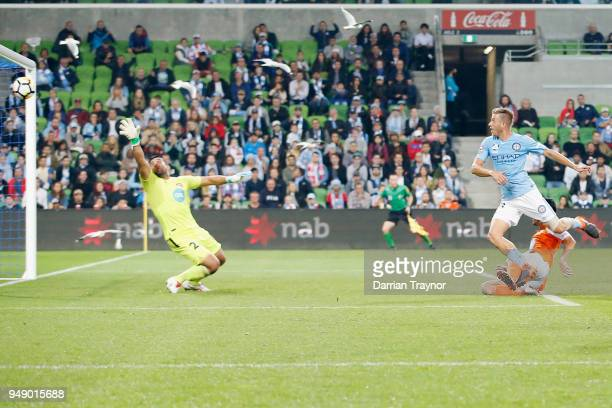Stefan Mauk of Melbourne City heads through a goal during the ALeague Elimination Final match between the Melbourne City and the Brisbane Roar at...