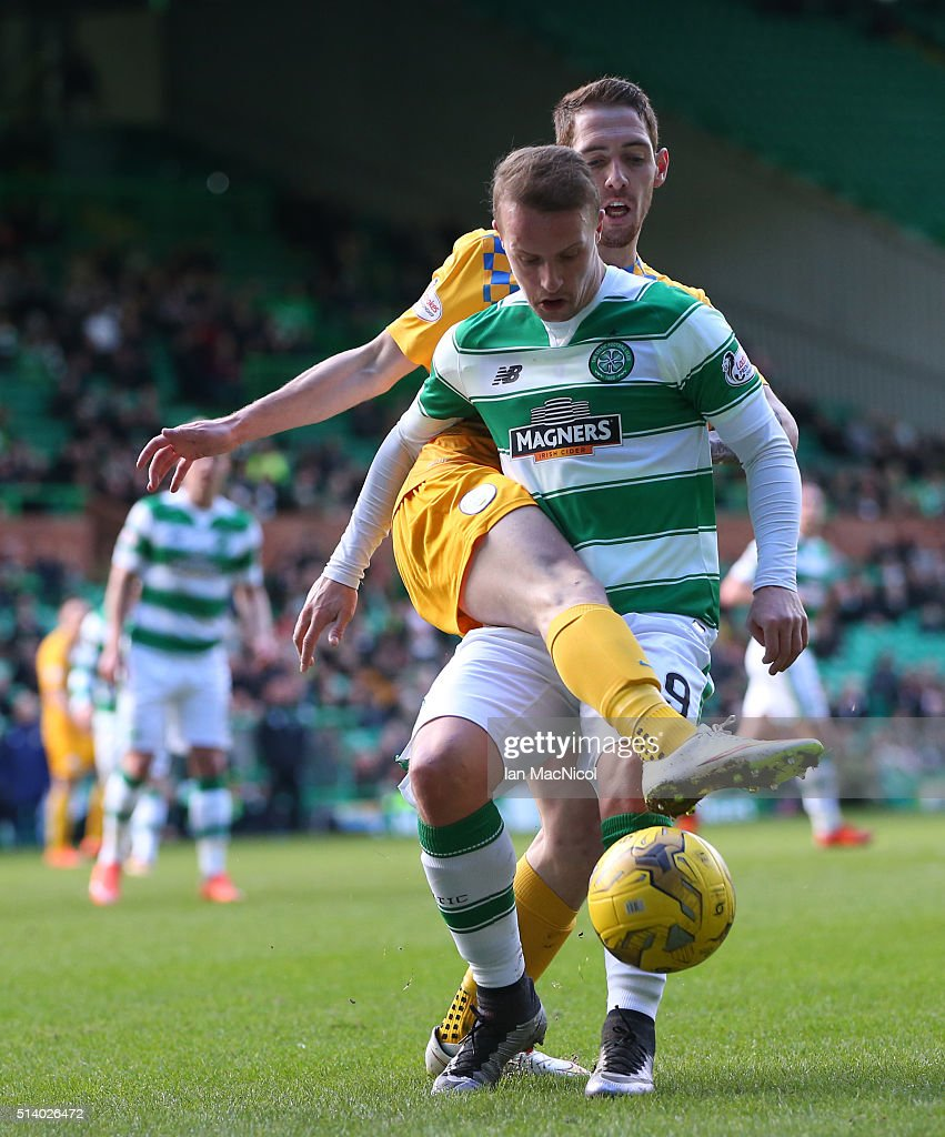 Stefan McCluskey of Greenock Morton vies with Leigh Griffiths of Celtic during the William Hill Scottish Cup Quarter Final match between Celtic and Greenock Morton at Celtic Park Stadium on March 6, 2016 in Glasgow, Scotland.