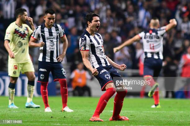 Stefan Medina of Monterrey celebrates after scoring the first goal of his team during the Final first leg match between Monterrey and America as part...