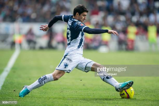 Stefan Medina of Monterrey drives the ball during the third round match between Monterrey and Tijuana as part of Torneo Clausura 2018 Liga MX at BBVA...