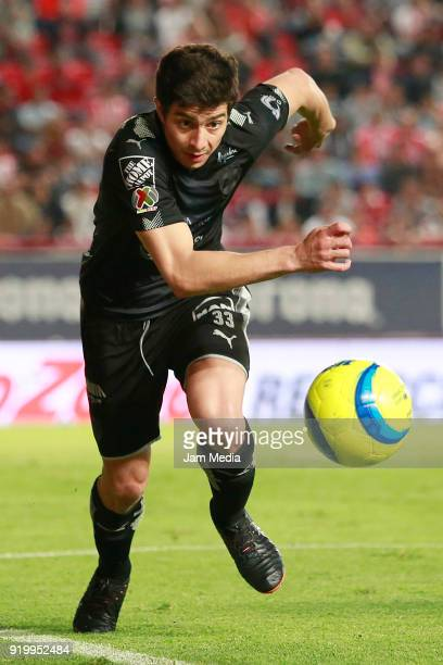 Stefan Medina of Monterrey looks the ball during the 8th round match between Necaxa and Monterrey as part of the Torneo Clausura 2018 Liga MX at...