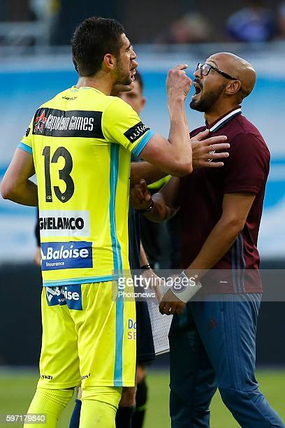 Stefan Mitrovic defender of KAA Gent and Gunter Van Handenhoven team manager of RSC Anderlecht pictured during Jupiler Pro League match between RSC...