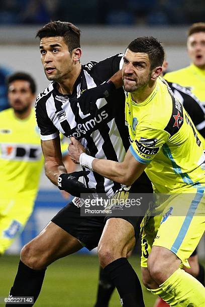 Stefan Mitrovic defender of KAA Gent and Hamdi Harbaoui forward of Sporting Charleroi during the Jupiler Pro League match between KAA Gent and R...