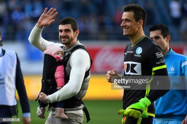 Stefan Mitrovic defender of KAA Gent during the Jupiler Pro League match between KAA Gent and KV Mechelen on March 12 2017 in Ghent Belgium