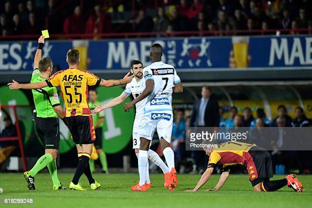 Stefan Mitrovic defender of KAA Gent is shown a yellow card during the Jupiler Pro League match between KV Mechelen and KAA Gent on October 30 2016...