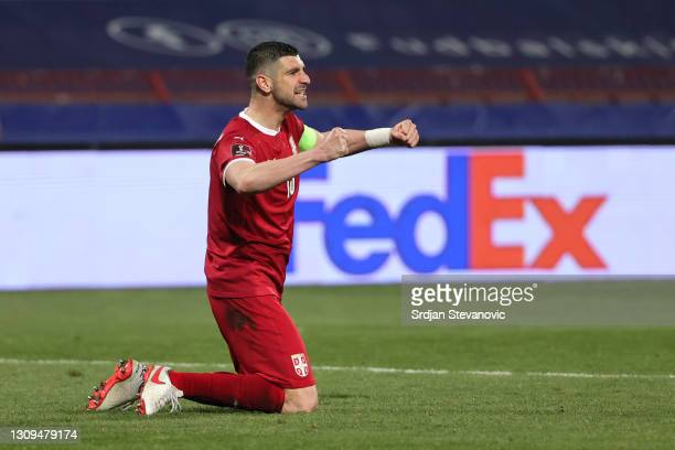 Stefan Mitrovic of Serbia celebrates during the FIFA World Cup 2022 Qatar qualifying match between Serbia and Portugal at FK Crvena Zvezda stadium on...