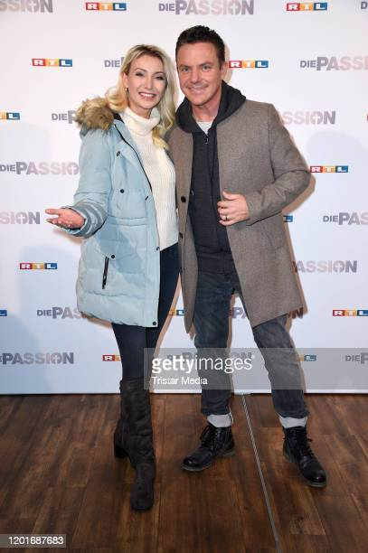 Stefan Mross and his girlfriend AnnaCarina Woitschack attend the photocall and press conference of RTL TV show Die Passion at FunFood Factory on...