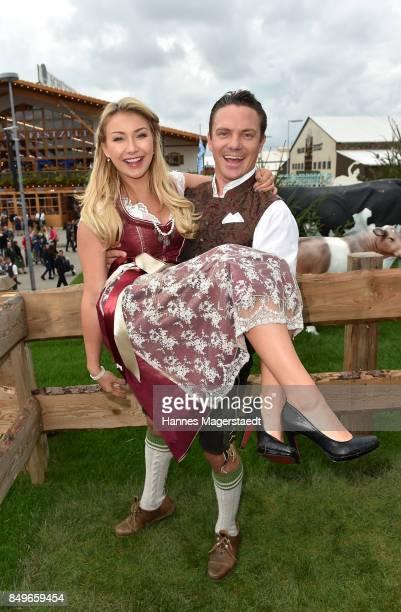 Stefan Mross and his girlfriend AnnaCarina Woitschack during the 'Alpenherz' as part of the Oktoberfest 2017 at Kaefer Tent on September 19 2017 in...