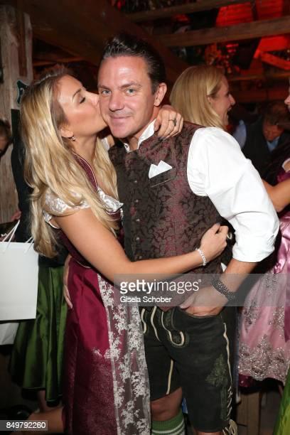 Stefan Mross and his girlfriend AnnaCarina Woitschack during the 'Alpenherz Wies'n' as part of the Oktoberfest at Theresienwiese on September 19 2017...