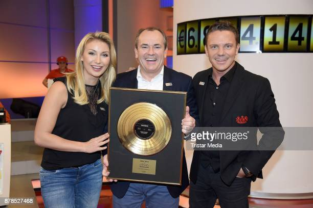 Stefan Mross his girlfriend AnnaCarina Woitschack and Wolfram Kons attend the RTL Telethon 2017 on November 24 2017 in Huerth Germany
