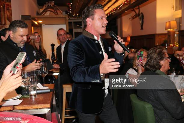 Stefan Mross sings during the Christmas Charity Dinner hosted by StefanMross AnnaCarinaWoitschack and Connections PR for the benefit of the...