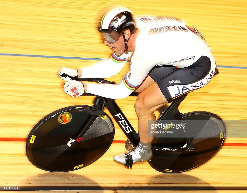 Stefan Nimke of Germany competes in the Men's 1Km Time Trial Final at Hisense Arena on April 5, 2012 in Melbourne, Australia.