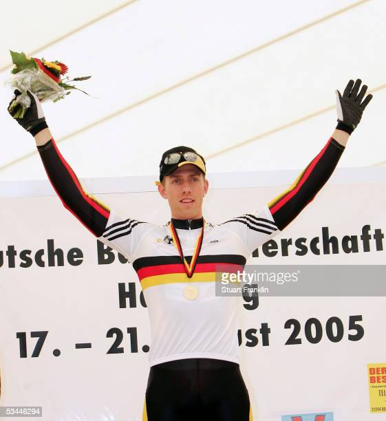 Stefan Nimke of RSC Sprintteam Schwerin poses with his medal from the mens sprint final at the German Track Racing Championships on August 21 2005 in...