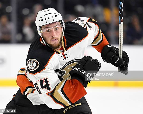 Stefan Noesen of the Anaheim Ducks forechecks during a preseason game against the Los Angeles Kings at Staples Center on September 28 2016 in Los...