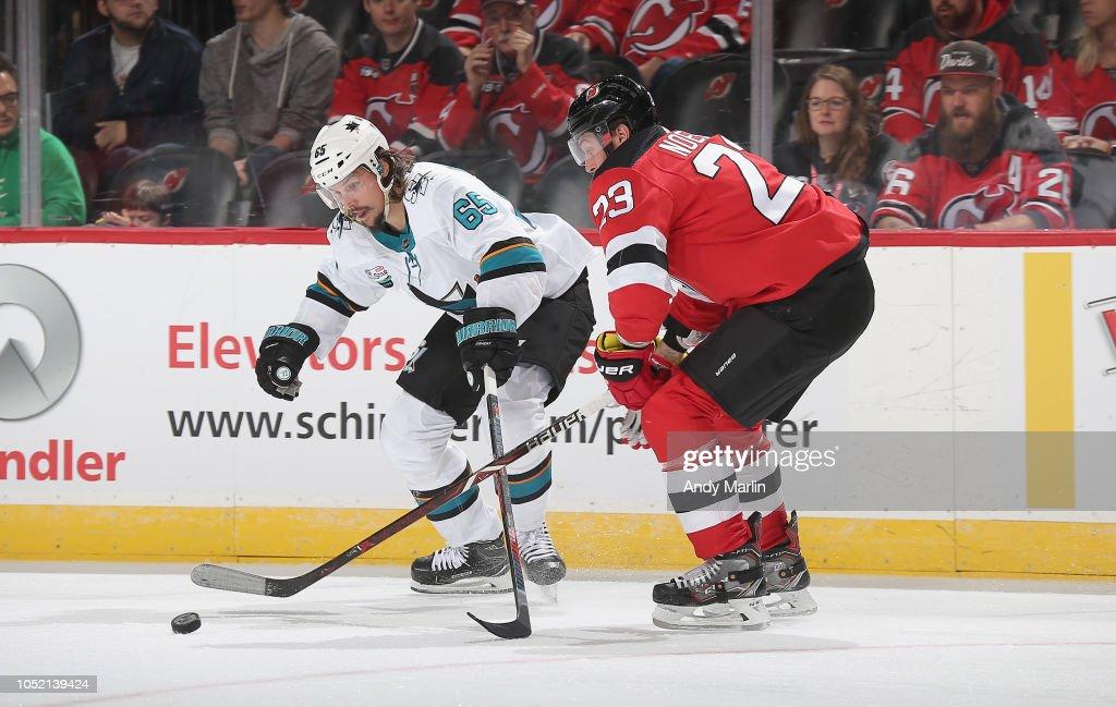 huge discount 6c685 26cfe Stefan Noesen of the New Jersey Devils and Erik Karlsson of ...