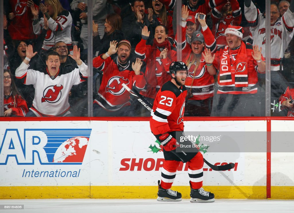 Stefan Noesen #23 of the New Jersey Devils celebrates his empty net goal at 19:53 of the third period against the Anaheim Ducks at the Prudential Center on December 18, 2017 in Newark, New Jersey. The Devils defeated the Ducks 5-3.