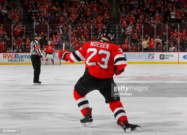 Stefan Noesen of the New Jersey Devils celebrates his goal against the Minnesota Wild on February 22 2018 at Prudential Center in Newark New Jersey
