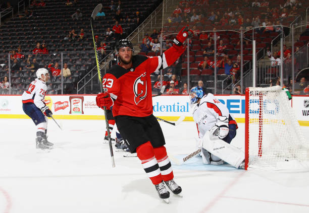 Stefan Noesen  23 of the New Jersey Devils celebrates his goal at 1 40 6099fe7ba