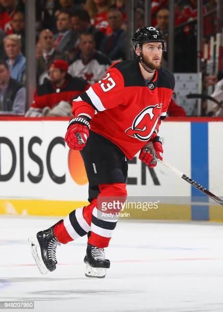 Stefan Noesen of the New Jersey Devils skates in Game Four of the Eastern Conference First Round against the Tampa Bay Lightning during the 2018 NHL...
