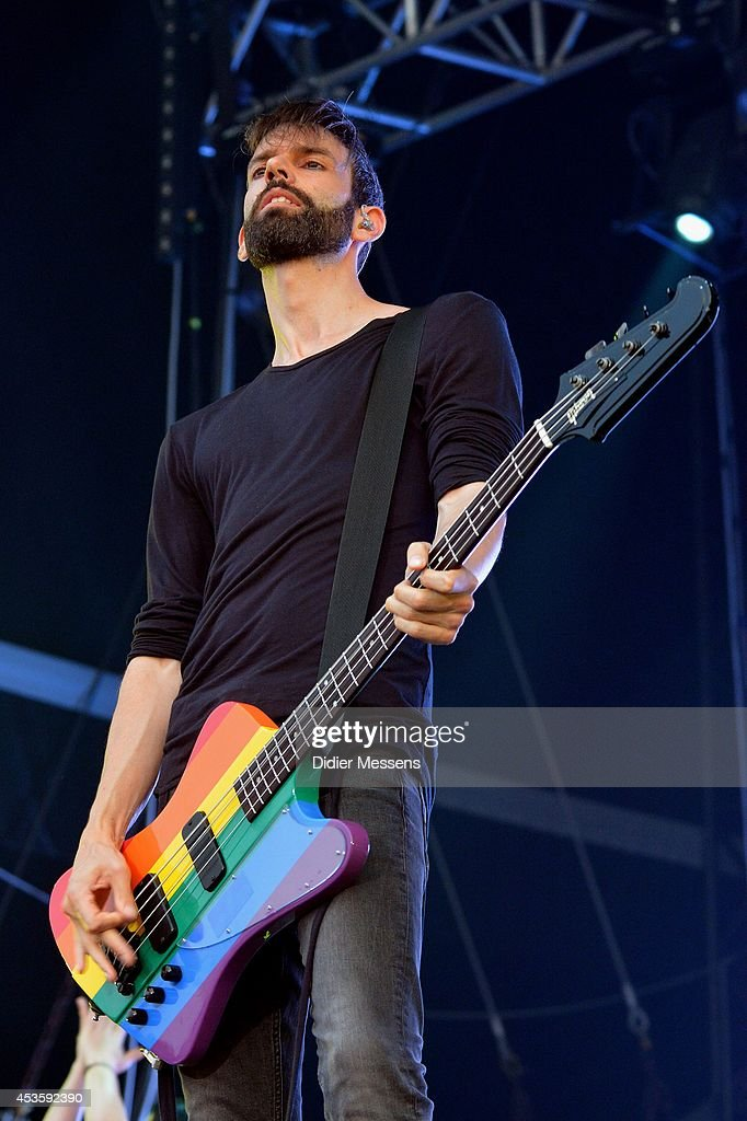 Stefan Olsdal of Placebo performs on stage at Sziget Festival on August 13, 2014 in Budapest, Hungary.