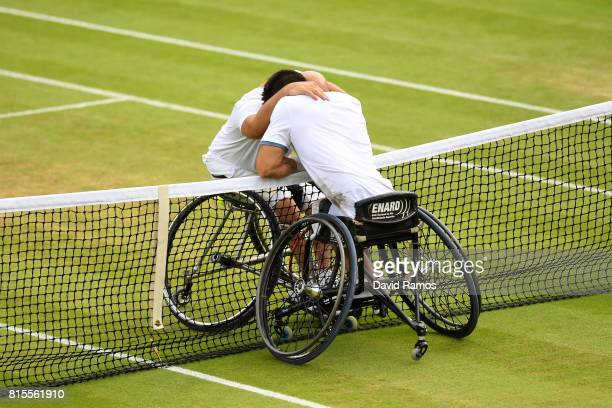 Stefan Olsson of Sweden and Gustavo Fernandez of Argentina embrace after the Gentlemen's Wheelchair Singles final on day thirteen of the Wimbledon...
