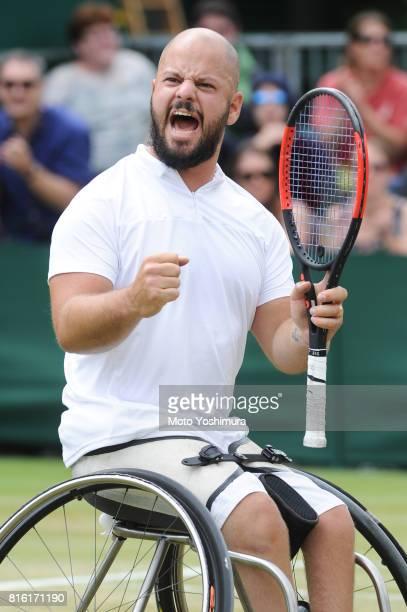 Stefan Olsson of Sweden celebrates a point in the Gentlemen's Wheelchair Singles semi final against Shingo Kunieda of Japan on day eleven of the...
