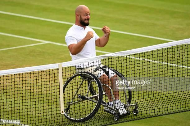 Stefan Olsson of Sweden celebrates victory after the Gentlemen's Wheelchair Singles final against Gustavo Fernandez of Argentina on day thirteen of...