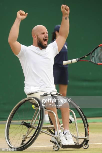 Stefan Olsson of Sweden celebrates winning the Gentlemen's Wheelchair Singles final agaiinst Gustavo Fernandez of Argentina on day thirteen of the...