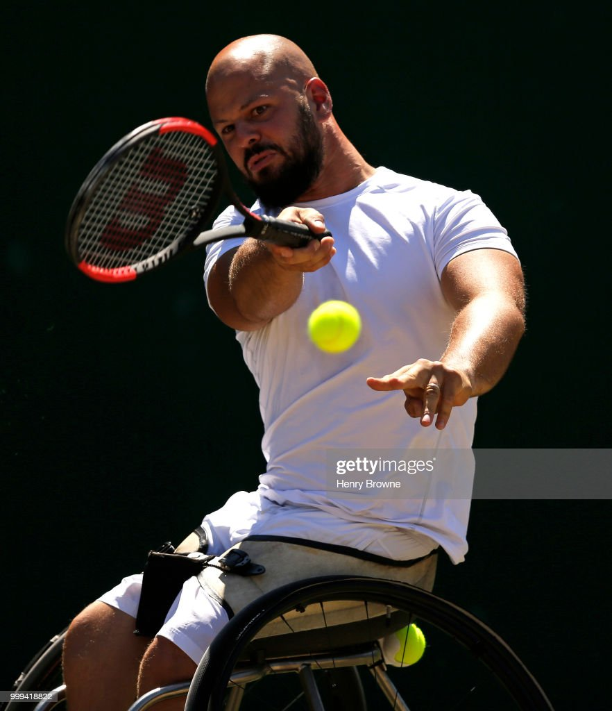 Stefan Olsson of Sweden during the mens wheelchair final against Gustavo Fernandez of Argentina at the All England Lawn Tennis and Croquet Club on July 15, 2018 in London, England.