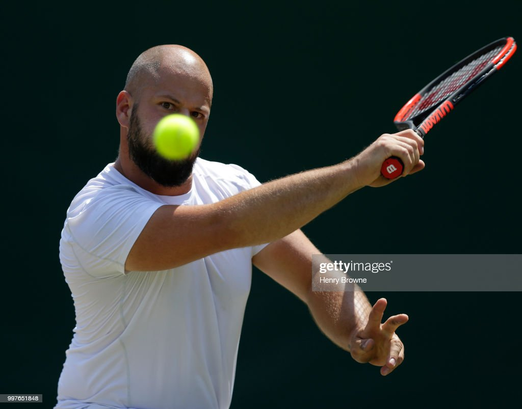 Stefan Olsson of Sweden during the mens wheelchair semi final against Alfie Hewett of Great Britain at the All England Lawn Tennis and Croquet Club on July 13, 2018 in London, England.